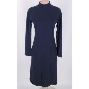 Céline Black Wool Mockneck Midi Dress